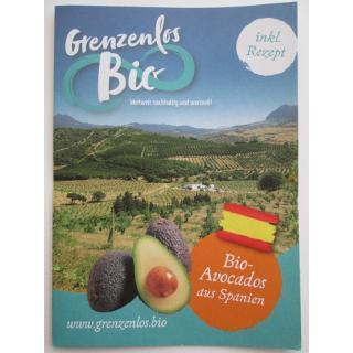 """Flyer """"Bio Avocados aus Spanien"""""""